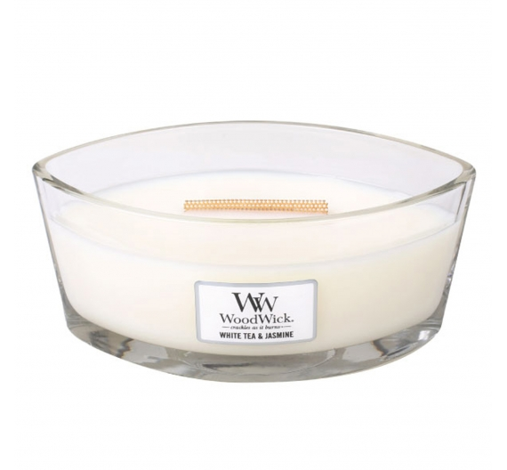 Bougie parfumée Woodwick ellipse White tea and jasmine 50H